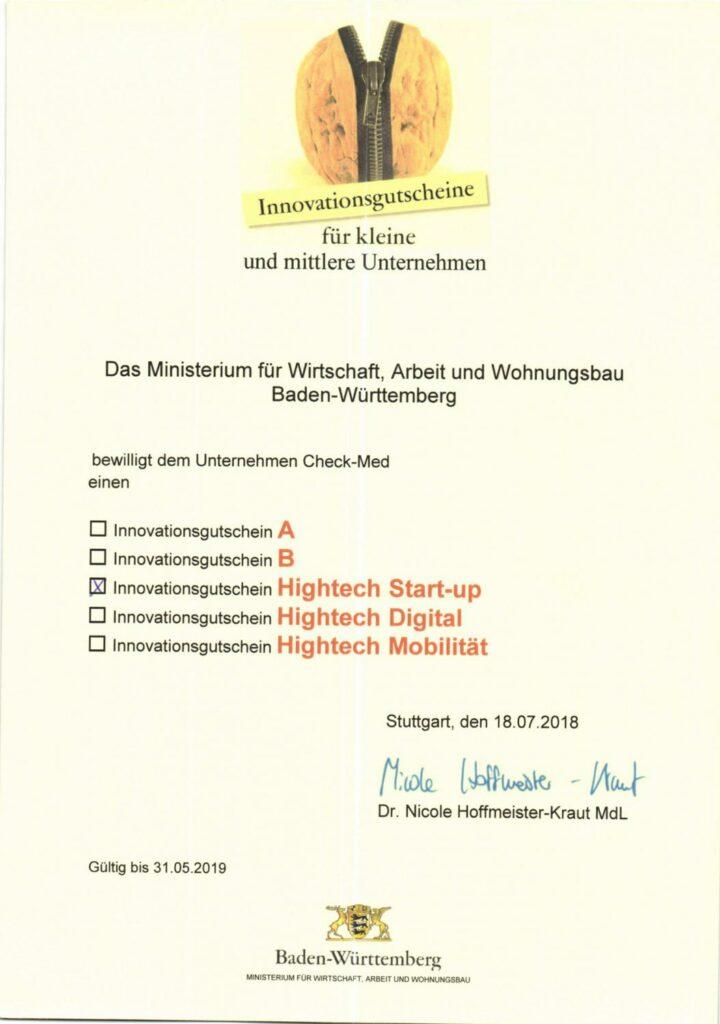 Urkunde der Förderung des Wirtschaftsministeriums BW für den Onkobutler.