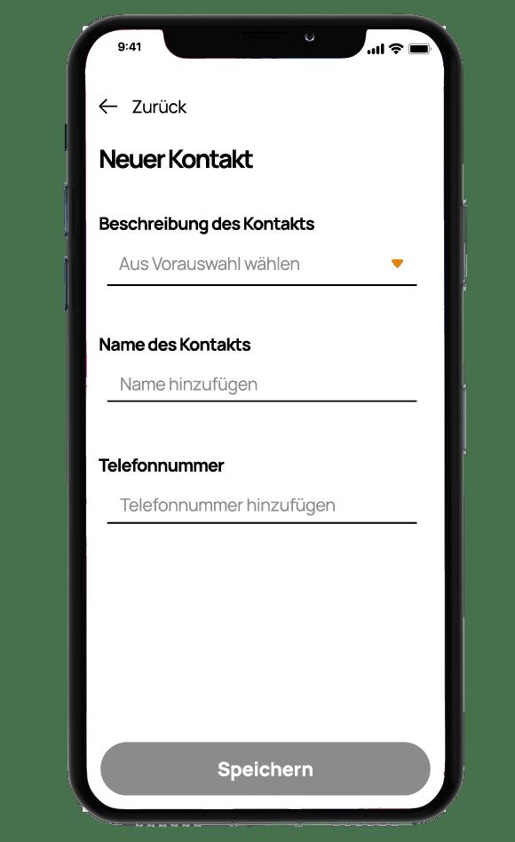 Screenshot zeigt die Eingabe von Notfallkontakten im Onkobutler.